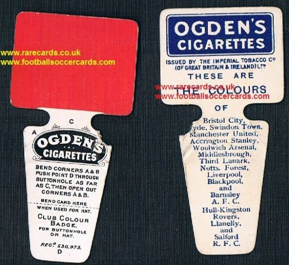 1909 Ogden's Club Colours card Liverpool Man Utd Forest Arsenal Swindon Boro same sold for £400+ EB